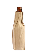 Paper bag with beer bottle isolated on white background