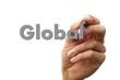 hand writing the word global