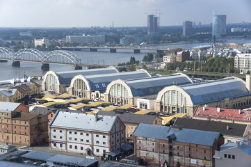Riga. View of pavilions of the central market