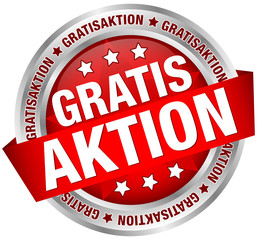 "Button Banner ""Gratisaktion"" rot/silber"