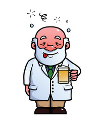 Scientist holding a beer while being drunk.