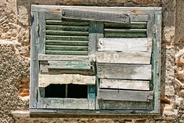 Old boarded up window