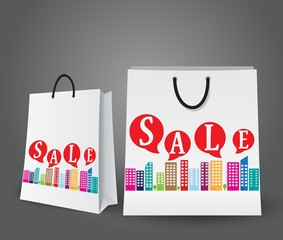 Sale design with shopping bags