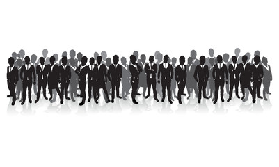 business people silhouette on a cityscape background