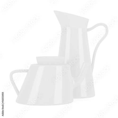 ceramic jug and teapot isolated on white background