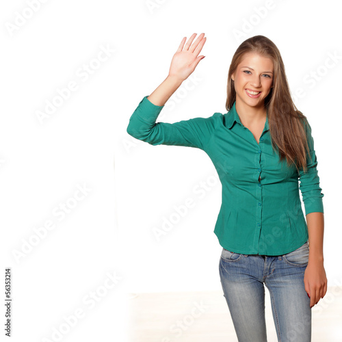 happy young attractive girl waving hand on white background