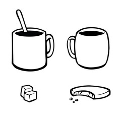 Black and white icons of coffee and tea cups with food.