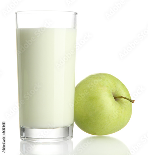 Glass of kefir and green apple, isolated on white