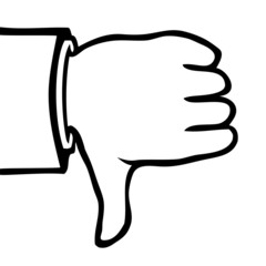 Black and white hand showing a thumbs down.