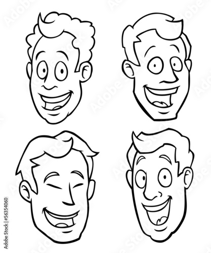 Black and white male cartoon faces of different races.