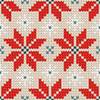 Seamless Pattern Knitted Poinsettia Red/Blue/Beige