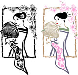 Traditional Japanese Geisha with fan