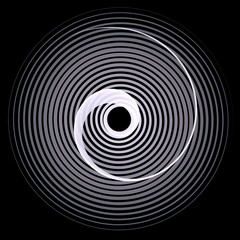 Double inverted spirals monochromatic over black background