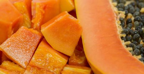 Close up vie of Papaya Fruit