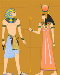 The vector illustration of an aged egyptians.