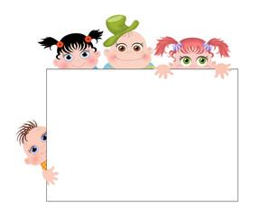 Дети с баннером.Векторная иллюстрация