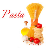 Italian pasta, a bottle of oil, tomatoes and spices