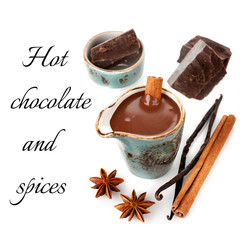Hot chocolate with spices: vanilla and cinnamon