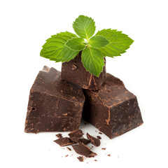 Dark chocolate with mint leaves