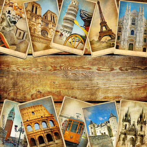 vintage collage cards with place for text - European travel