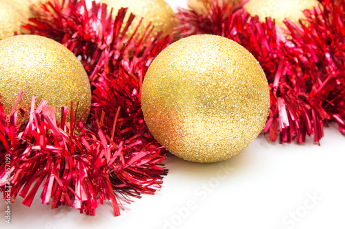 Christmas decoration.Yellow spheres closeup
