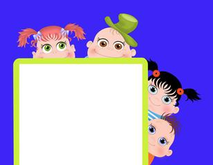Дети с баннером на синем фоне