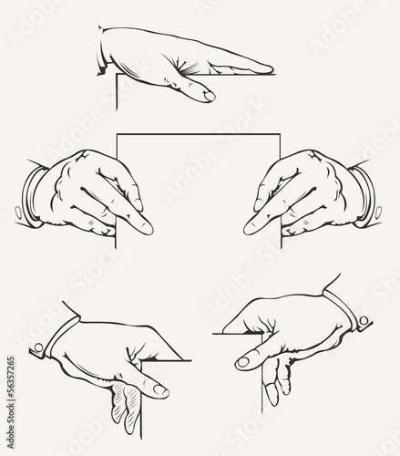 Set Of Hands. Vector Drawing.