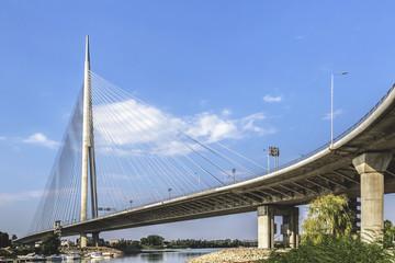 Suspension Bridge Over Ada Pylon - Belgrade - Serbia