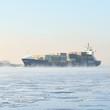cargo container ship sailing in still frozen winter sea