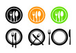 Plate and cutlery icons - 56358296