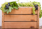 Grapes on wooden crate