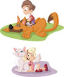 Colorful cute happy cartoon boy and girl with dog and cat