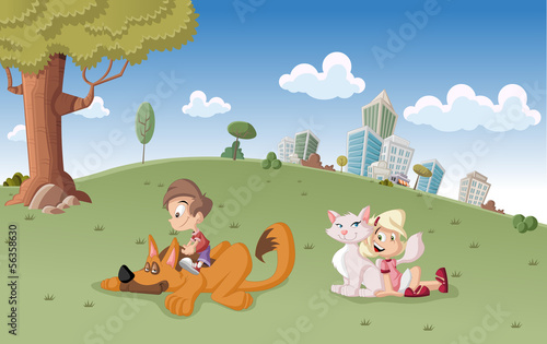 cartoon boy and girl with dog and cat on city park