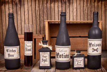 Potion bottles on wooden crates
