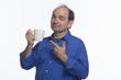 Man with coffee mug, horizontal