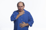 Older man choking, horizontal