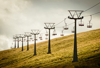 Stormy mountain cable car