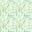 Vector ecology symbols seamless pattern background with hand