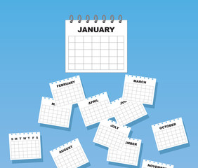 Calendar with months of the year falling