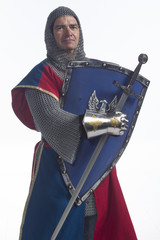 Knight with shield and sword, vertical