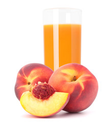 Peach fruit juice in glass