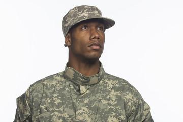African American military man, horizontal
