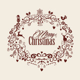 Vintage Merry Christmas text and mistletoe design EPS10 file.