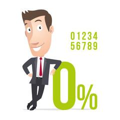 Manager, commercial pourcentage taux d'interêt. Vecteur CMJN