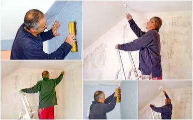 artisan peintre sur un chantier