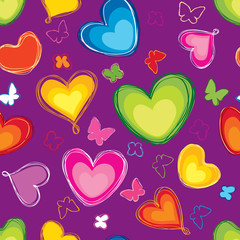 Hearts Seamless Pattern. Abstract Paint Background.