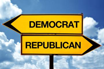 Democrat or republican, opposite signs
