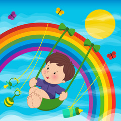 Baby on the rainbow  - vector illustration