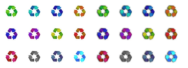 Recycling symbol in different colors