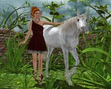 Girl and a white horse